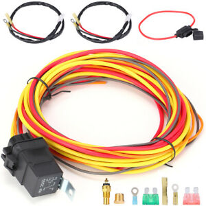 Electric Cooling Fan Wiring Harness Kit Dual Single 165 185 W thermostat 40 Amp