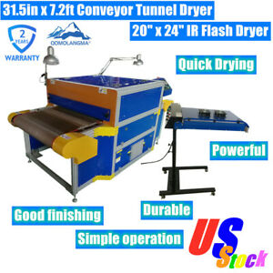 Usa 8kw 220v 31 5in X 7 2ft Conveyor Tunnel Dryer With 20 X 24 Ir Flash Dryer