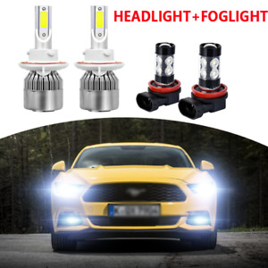 For Ford Mustang 2005 2012 6000k H13 Led Headlight High low Fog Light Bulbs