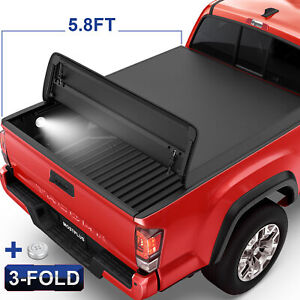 5 8ft 5 7ft Tri fold Tonneau Cover Truck Bed For 09 21 Dodge Ram 1500 W Lamp