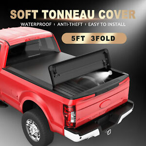 3 Fold 5 Ft Tonneau Cover For 16 21 Toyota Tacoma Cab Pick Up Truck Bed W Lamp