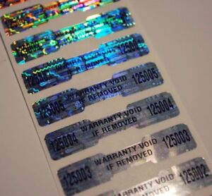 100 High Security Tamper Evident Warranty Void Dogbone Hologram Labels stickers