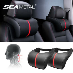 Us 2pcs Car Seat Headrest Pad Memory Foam Leather Neck Pillow Head Rest Support