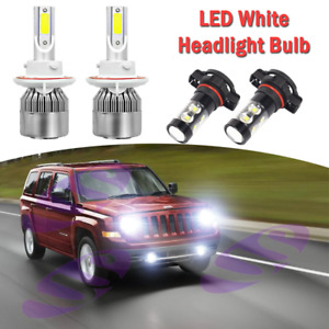 For Jeep Patriot 2011 2017 4pc Led Headlight High low Fog Bulbs 6000k White