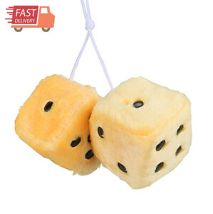 Pair Of Premium Retro Square Mirror Hanging Dice Yellow 3in Fuzzy Plush Vintage