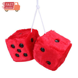 Pair Of Premium Retro Square Mirror Hanging Dice Red 3in Fuzzy Plush Vintage