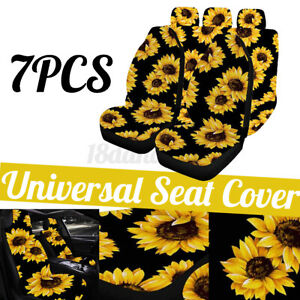 5 seats Car Seat Covers Front Rear Breathable Protector Sunflower Pattern Set