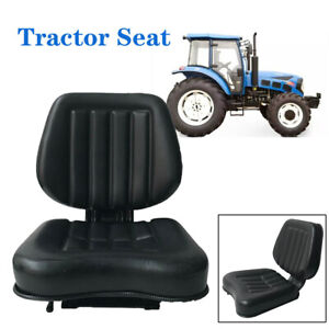 Seat For Forklifts tractor lawn Mower Black Iron Frame Pvc Leather Sponge Filler