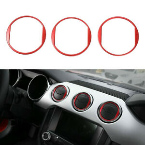 Dashboard Air Conditioning Vent Outlet Ring Trim Decor For Ford Mustang 15 Red