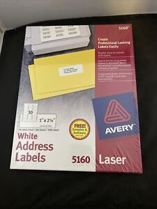 Nib Avery Easy Peel White Address Labels 5160 Pack Of 100 Sheets 3000 Labels