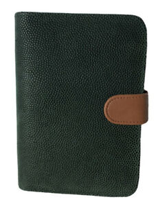 Nwot File System Green Pebbled Leather Planner Organizer 6 ring Binder Small