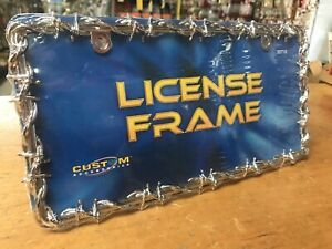 New Chrome Metal 3d Barbed Wire License Plate Frame Car Auto Truck Suv