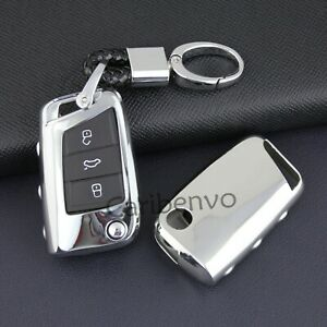Silver Flip Car Key Fob Keychain Cover For Volkswagen Polo Golf Mk7 Seat Ateca