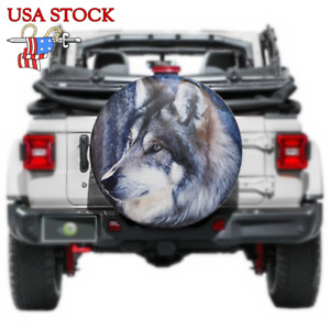 Spare Tire Cover 14 Wolf Wheel Protector Universal For Jeep Wrangler Camper Rv