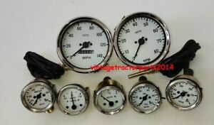 Smiths Gauge Kit Temp oil Fuel amp oil Temp speedometer tacho Replica White
