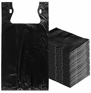 500 Mini Jumbo T shirt Plastic Bags 16 X 8 X 26 Black Shopping