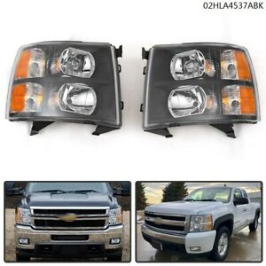 Pair Left Right For 2007 2013 Chevy Silverado Headlight Lamps Black Housing