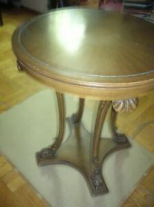Vtg French Renaissance Style Carved Round Coffee Table Wood