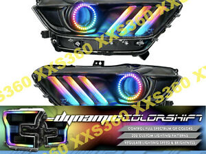 Oracle Halo 2x Headlights For Ford Mustang 15 17 Colorshift Dynamic Black
