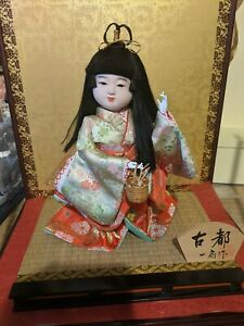 Rare Euc Vintage Japanese Doll Silk Kimono In Wood Laquered Glass Case