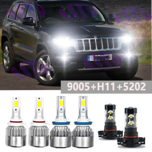 Combo Led Headlight Fog Light Bulbs Kit For Jeep Grand Cherokee 2011 2012 2013
