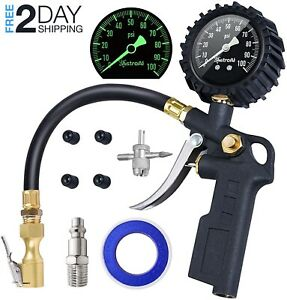 Tire Inflator With Pressure Gauge 100 Psi