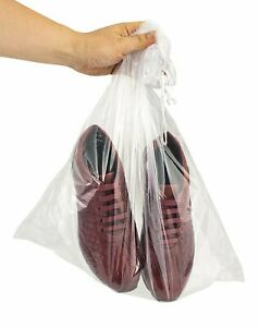 100 pk 18 x24 Double Drawstring Clear Poly Plastic Bags 2mil Clear Large