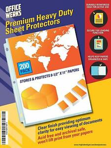 Heavy Duty Clear Sheet Protectors 8 5 X 11 Inch 200 Sheet Protectors Pack