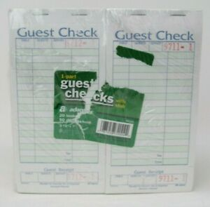 Adams Guest Checks With Stub 20 Ct 50 Pages Per Book