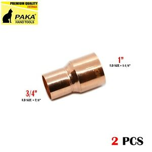 2 Pcs 1 X 3 4 Coupling Reducer C X C Copper Pipe Fitting