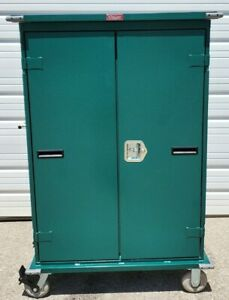Harloff Dual Sided Metal Cabinet On Wheels Medical Cabinet Locker W Shelves