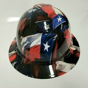 New Full Brim Hard Hat Custom Hydro Dipped Big Texas Flag In Your Face Edition