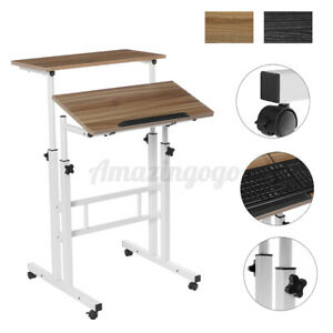 2 Tiers Mobile Sit And Stand Adjustable Office Computer Desk Laptop Table