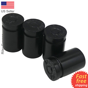 4x Wheel Tire Valve Cap Stem Cover For Car Truck Bike Bullet Shell Style Black