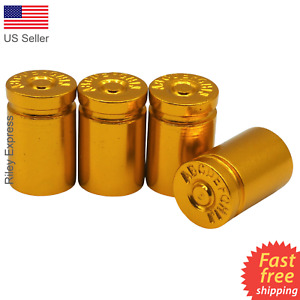 4x Wheel Tire Valve Cap Stem Cover For Car Truck Bike Bullet Shell Style Gold