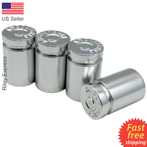 4x Wheel Tire Valve Cap Stem Cover For Car Truck Bike Bullet Shell Style Silver