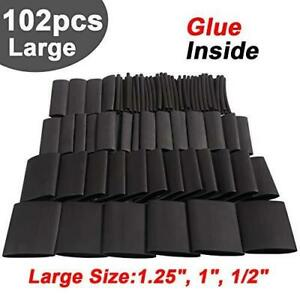 102pcs 3 1 Large Dual Wall Adhesive Heat Shrink Tubing Kit 4 Sizes Diameter 1 25