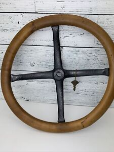 Vintage Authentic Wood 15 Steering Wheel 4 Spoke Model A Or T Ford With Key 69