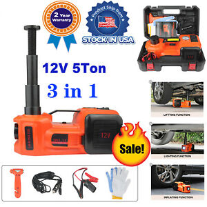 5ton 3in1 Electric Hydraulic Floor Jack Air Pump 12v Dc 5 0t 11023lb Wrench Set