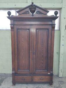 Antique Victorian Knockdown Armoire Wardrobe Cabinet 2 Drawers Pickup Only