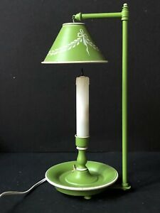 Rare Vintage Tole Green White Metal Lamp Desk Toleware Light Painted Mid Century