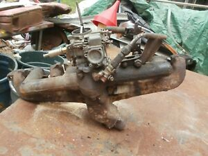 Vintage 1961 Ford 6 Cyl Intake exhaust Manifold With Carburator