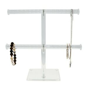 2 Tier Acrylic Necklace Holder Clear Bracelet Display Jewelry Stand