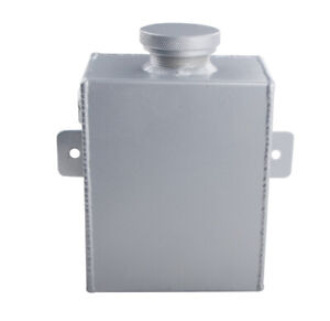Universal Aluminum Radiator Coolant Overflow Expansion Water Tank Bottle Silver