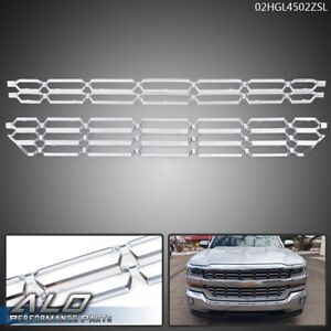 Pair For 16 18 Chevy Silverado 1500 Overlay Cover Insert Chrome Bumper Grille