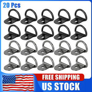 20pcs Titanium Tone Black D Shape Tie Down Anchors Ring For Truck Trailers Rv