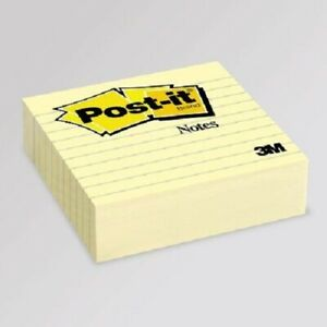 Post it Notes 675 yl 4 In X 4 In Canary Yellow Lined 1ea