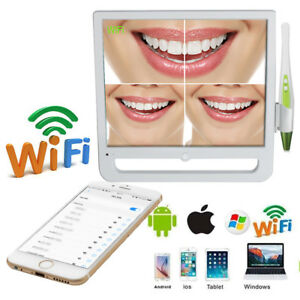 Wireless Usb Oral Dental Wifi Intraoral Camera 6 Led 17 Monitor For Phone Pc