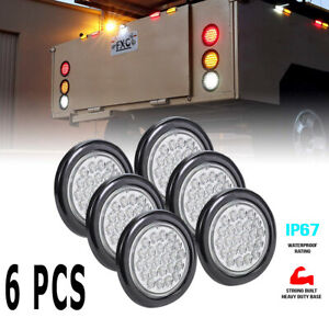 6x 4 Inch Round 24 Led Tail Lights Trailer White Backup Reverse Lamp W Grommet