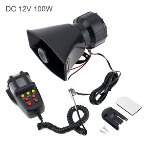 7 Sound Loud Car Truck Warning Alarm Police Fire Siren Horn Speaker Mic System